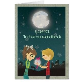 Cartão Eu te amo à lua e à parte traseira - GCard