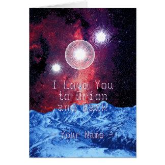 Cartão Eu te amo a Orion e a parte traseira com seu