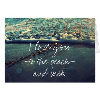 Cartão Eu te amo à praia e à parte traseira