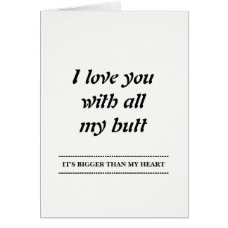 Cartão Eu te amo com todo meu bumbum