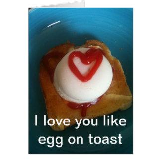 Cartão Eu te amo como o ovo no brinde