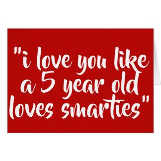 Cartão Eu te amo como uma criança de 5 anos ama sabe-tudo