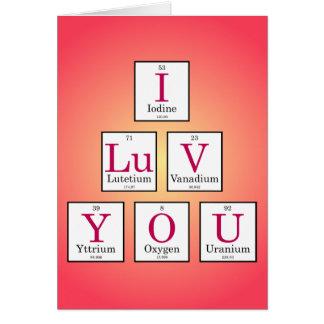 Cartão Eu te amo (elementos de mesa periódica)