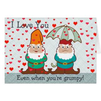 Cartão Eu te amo gnomo mal-humorado
