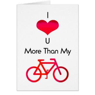 Cartão Eu te amo mais do que minha bicicleta em branco e