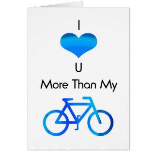 Cartão Eu te amo mais do que minha bicicleta no azul