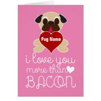 Cartão Eu te amo mais do que o coração customizável do