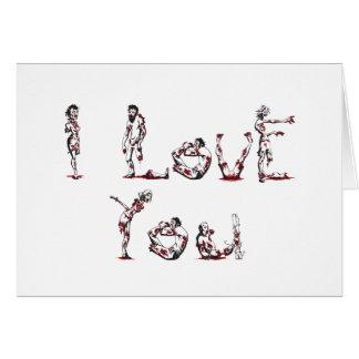 Cartão Eu te amo na pia batismal do zombi