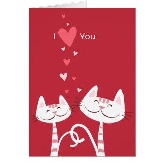 Cartão Eu te amo namorados dos gatos