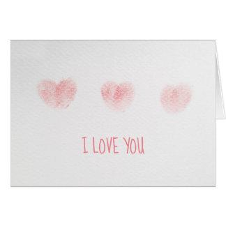 Cartão Eu te amo nota com corações da impressão digital