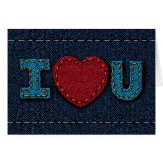 Cartão Eu te amo - sarja de Nimes