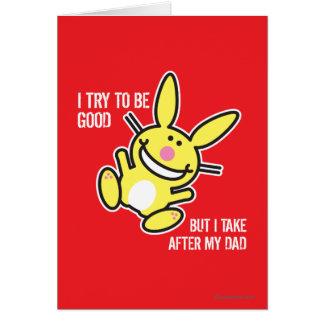 Cartão Eu tomo após meu pai