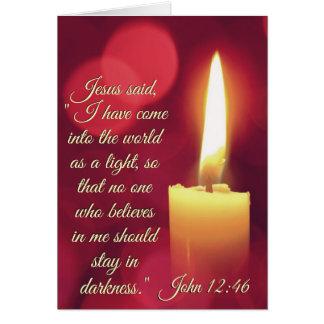 Cartão Eu vim como uma luz, verso da bíblia do 12:46 de