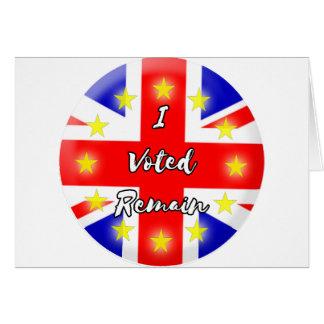 Cartão Eu votei permaneço história
