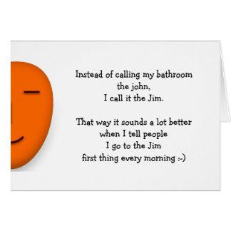 Cartão Eu vou ao Jim que as citações engraçadas da piada