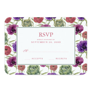 Cartão Eucalipto da aguarela   & anêmona - RSVP Wedding