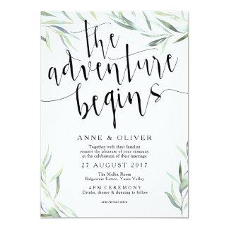Cartão Eucalipto que a aventura começa a Wedding o