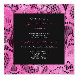 Cartão Evento cor-de-rosa preto real floral do chá de