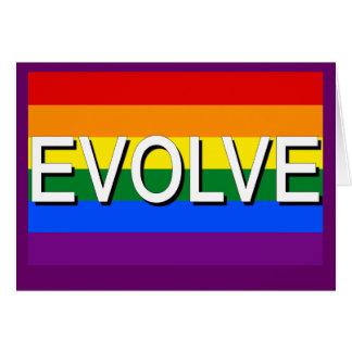 Cartão EVOLUA com a bandeira do orgulho gay para direitos