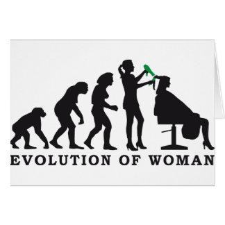 Cartão evolution of woman female hairdresser
