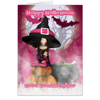 Cartão Excelente - neta o Dia das Bruxas com bruxa de