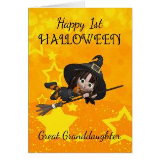 Cartão Excelente - neta o ø Dia das Bruxas com pequeno