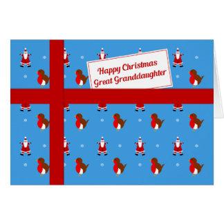 Cartão Excelente - pacote azul do Natal da neta