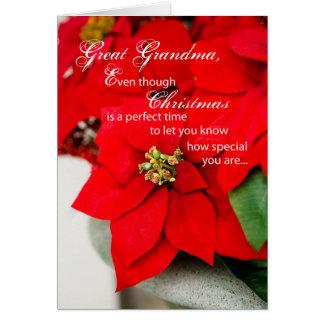Cartão Excelente - poinsétia do Natal da avó