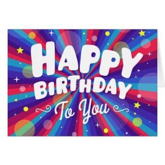 Cartão Explosão de cor roxa feliz aniversário