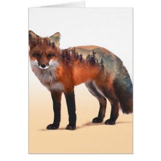 Cartão Exposição dobro do Fox - arte da raposa - raposa