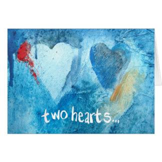 Cartão expressivo de dois corações