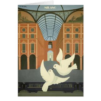Cartão Expresso de oriente branco das pombas de Milão