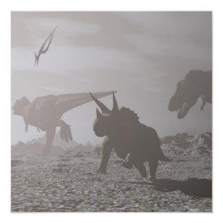 Cartão Extinção dos dinossauros - 3D rendem