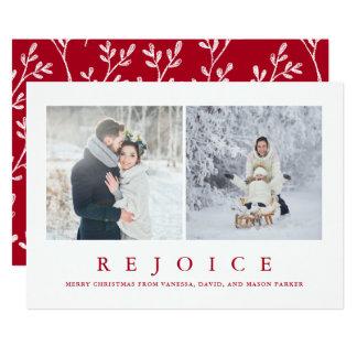 Cartão Exulte a foto vermelha moderna do Natal dois de |
