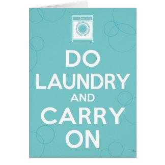 Cartão Faça a lavanderia e continue