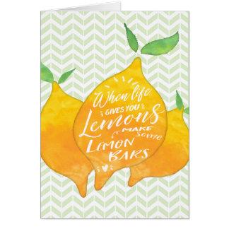 Cartão Faça bares do limão com parte traseira da receita