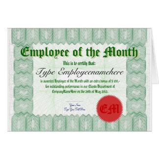 Cartão Faça um empregado do prêmio de Certicate do mês