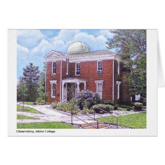 Cartão Faculdade de Albion do obervatório, notecard da