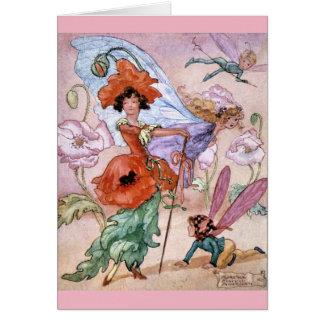 Cartão Fada à moda da flor do vintage,