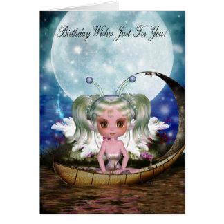 Cartão fada bonito da água em seu barco pequeno com lua