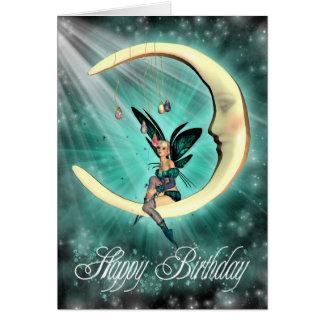 Cartão Fada bonito da lua de fevereiro do feliz