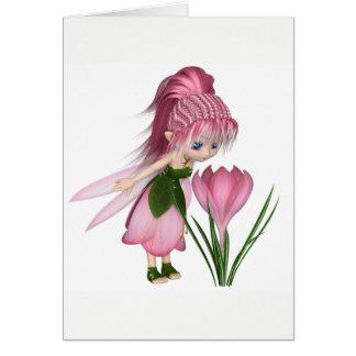 Cartão Fada cor-de-rosa bonito do açafrão de Toon,