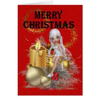 Cartão Fada do Natal com velas
