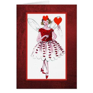 Cartão Fada dos namorados com o vestido coberto coração