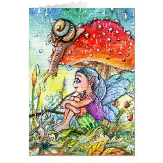 Cartão Fada e o caracol