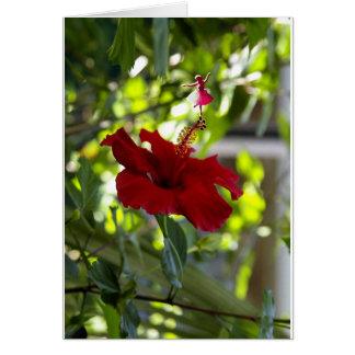 Cartão Fada marrom da sombra do hibiscus