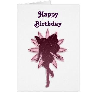 Cartão Fada vermelha e silhueta cor-de-rosa da flor