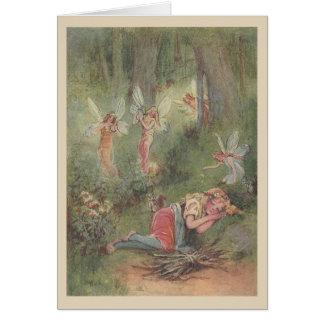 Cartão Fadas de sono da criança & da floresta,
