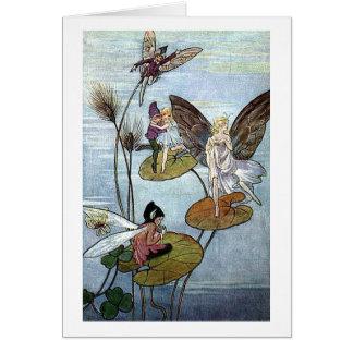 Cartão Fadas no lago,