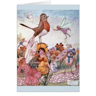 Cartão Fadas & pássaros do vintage no jardim,